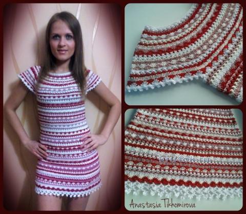 Вязаное крючком платье - работа Тихомировой Анастасии вязание и схемы вязания