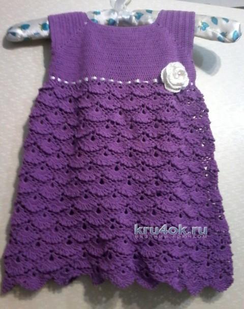 Вязаное платье для девочки - работа Юлии вязание и схемы вязания