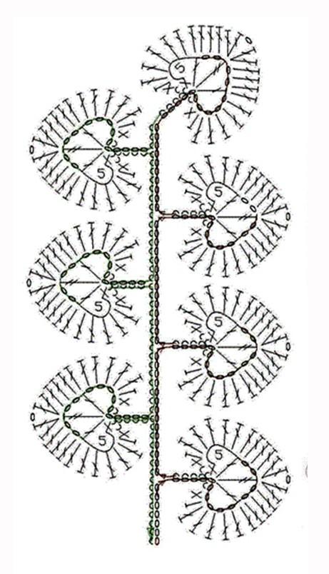 Схемы вязания листьев: