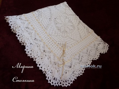 Ажурный плед крючком - работа Марины Стоякиной вязание и схемы вязания