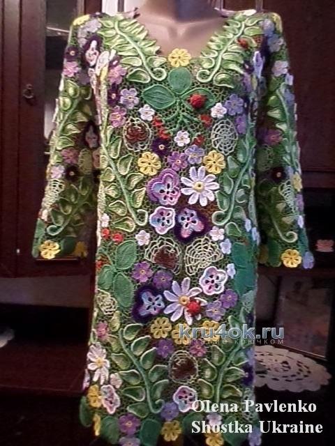 Блуза в технике ирландского кружева - работа Елены Павленко вязание и схемы вязания