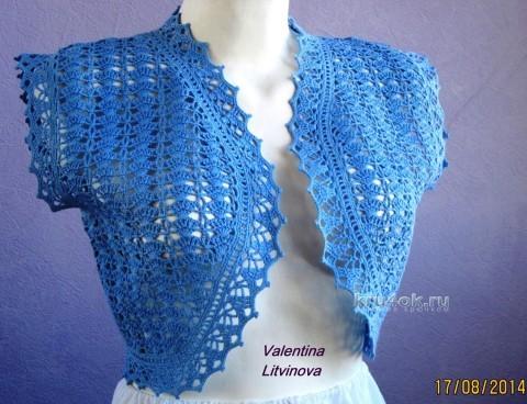 Болеро крючком - работа Валентины Литвиновой вязание и схемы вязания