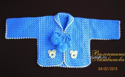 Кофточка для малышка - работа Валентины Литвиновой вязание и схемы вязания