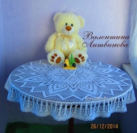 Круглая скатерть - работа Валентины Литвиновой вязание и схемы вязания