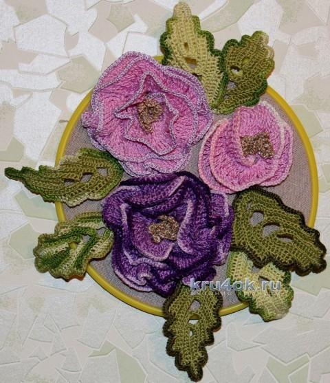Панно Махровая роза. МК вязание и схемы вязания