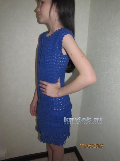 Платье для девочки - работа Арины вязание и схемы вязания