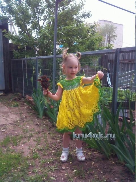 Платье крючком для девочки - работа Ирины вязание и схемы вязания