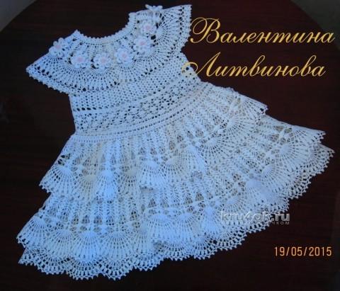 Платье, шляпка и пояс для девочки - работы Валентины Литвиновой вязание и схемы вязания
