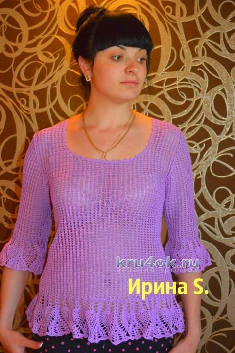 Туника цвета сирени крючком - работа Ирины Стильник вязание и схемы вязания