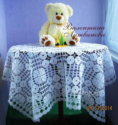 Вязаная скатерть - работа Валентины Литвиновой вязание и схемы вязания