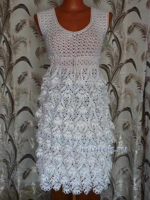 Вязаное крючком платье - работа Марины Ефименко вязание и схемы вязания