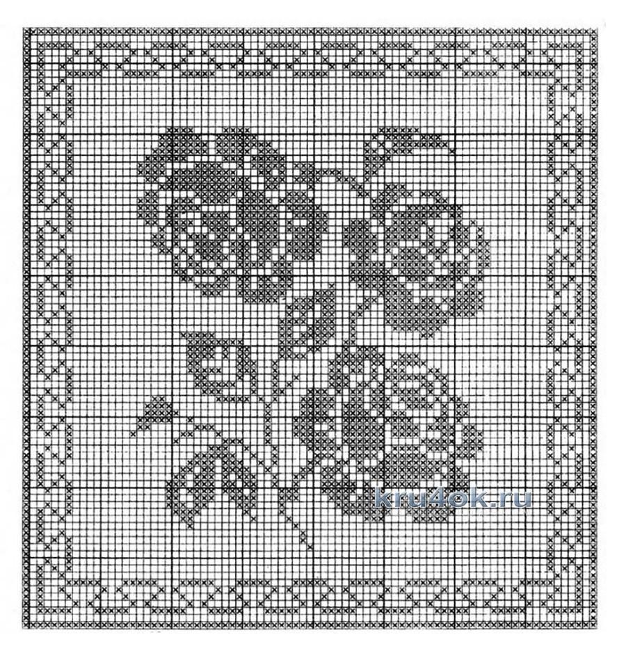 схема филейных узоров розами