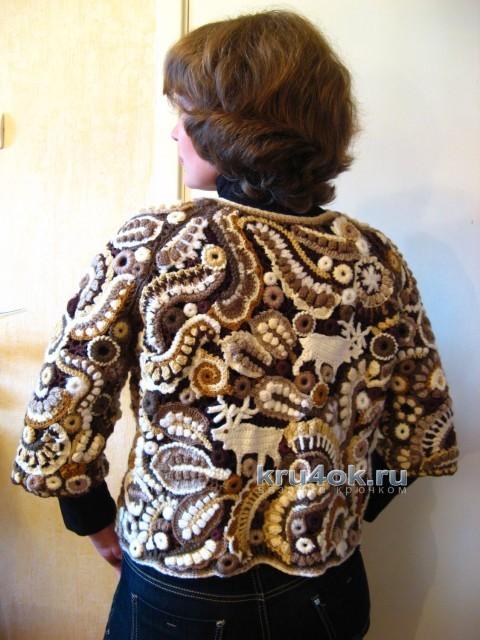 Жакет в технике фриформ - работа Галины вязание и схемы вязания