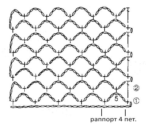 схема узора сетка для топа