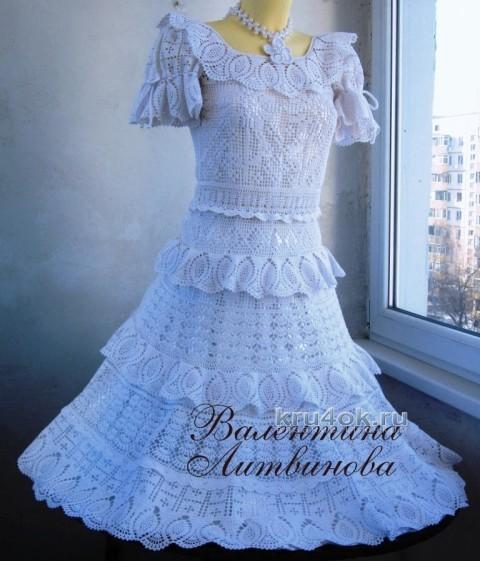 Детское платье Праздничное - работа Валентины Литвиновой вязание и схемы вязания