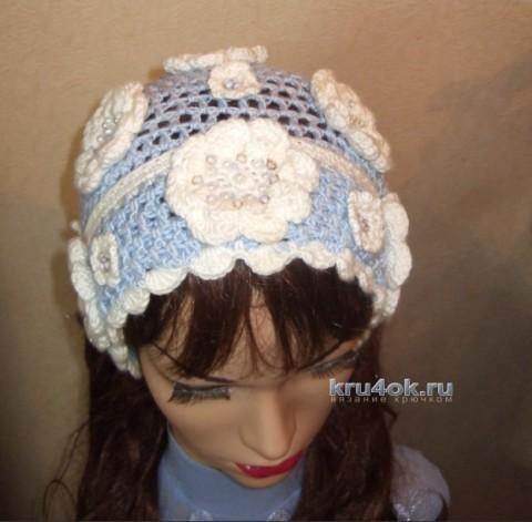 Косынка крючком - работа Марии Казановой вязание и схемы вязания
