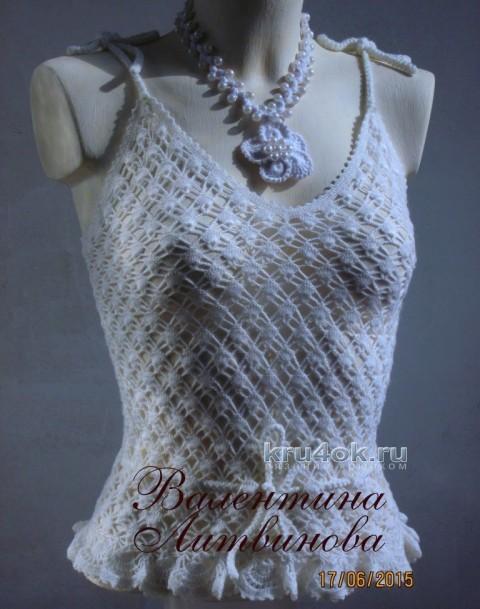 Летний топик для девочки - работа Валентины Литвиновой вязание и схемы вязания