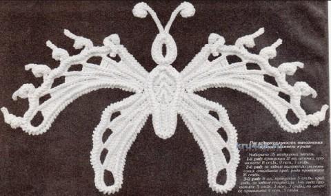 Летняя маечка с бабочкой связанная в технике ирландского кружева вязание и схемы вязания