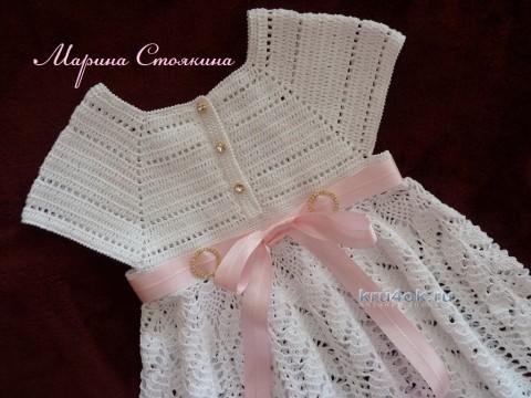 Платье и шапочка для девочки - работа Марины Стоякиной вязание и схемы вязания