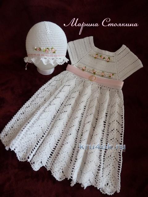 Платье и шапочка для девочки крючком. Работы Марины Стоякиной