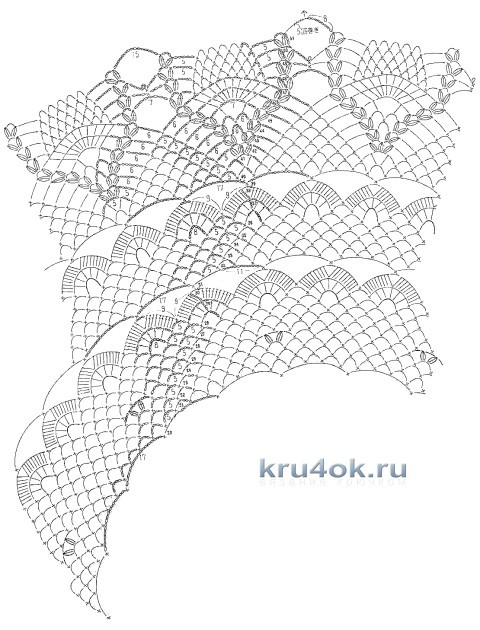 Скатерть крючком - работа Валентины Литвиновой вязание и схемы вязания