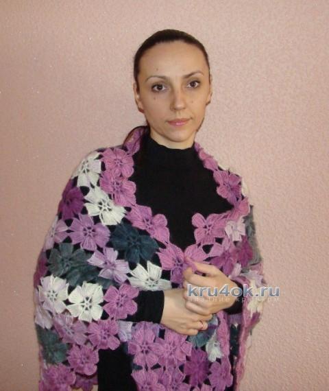 Вязаная шаль из цветочных мотивов - работа Евгении Руденко вязание и схемы вязания