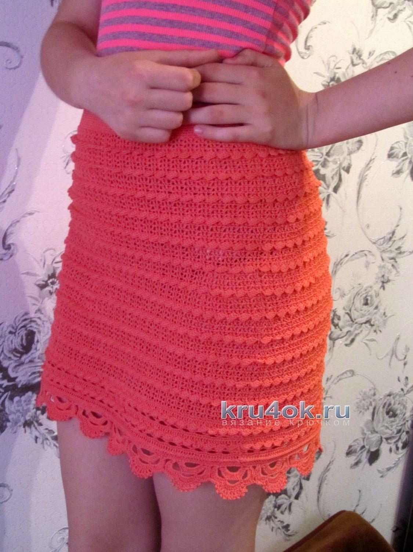 Вязанные крючком юбки с рюшами
