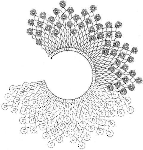 Схема вязания воротника:
