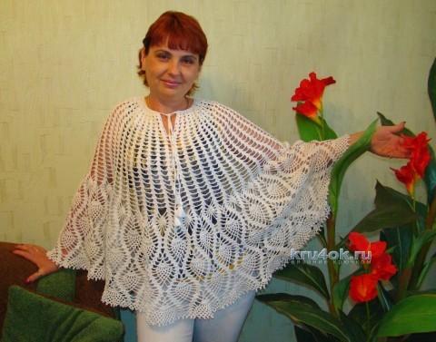 Ажурное пончо крючком - работа Евгении Руденко вязание и схемы вязания