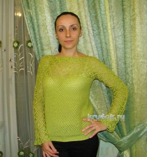 Ажурный пуловер - работа Евгении Руденко вязание и схемы вязания