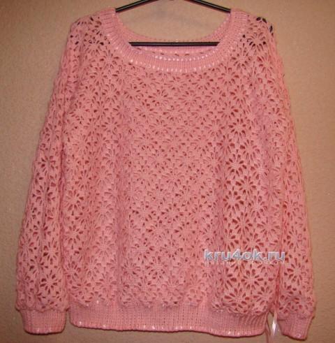 Ажурный пуловер крючком - работа Евгении Руденко вязание и схемы вязания