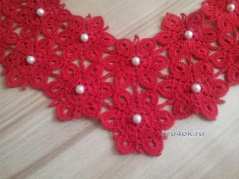 Ажурный воротничок крючком - работа Инны Пальчун вязание и схемы вязания
