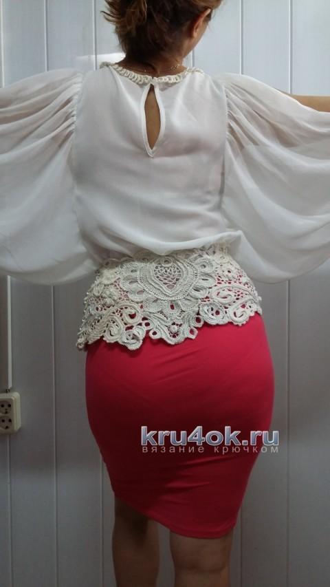 Блуза, декорированная ирландским кружевом вязание и схемы вязания
