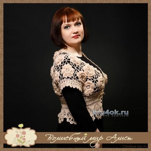 Болеро крючком - работа Алисы вязание и схемы вязания