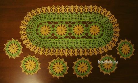 Комплект салфеток крючком - работа Евгении Руденко вязание и схемы вязания