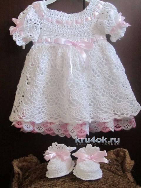 Крестильный комплект для девочки - работа Людмилы вязание и схемы вязания