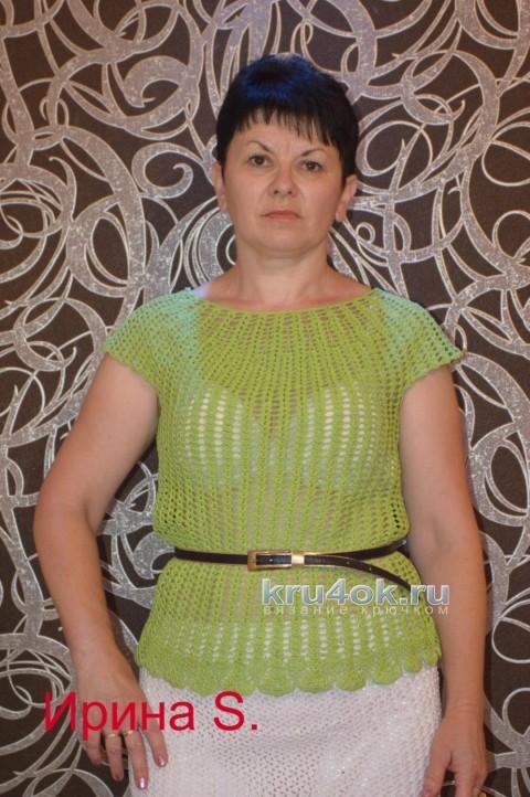 Летняя кофточкая крючком - работа Ирины Стильник вязание и схемы вязания