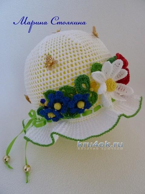 Панама для девочки - работа Марины Стоякиной вязание и схемы вязания