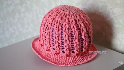 Панама для девочки Декоративная петля. Мастер-класс! вязание и схемы вязания