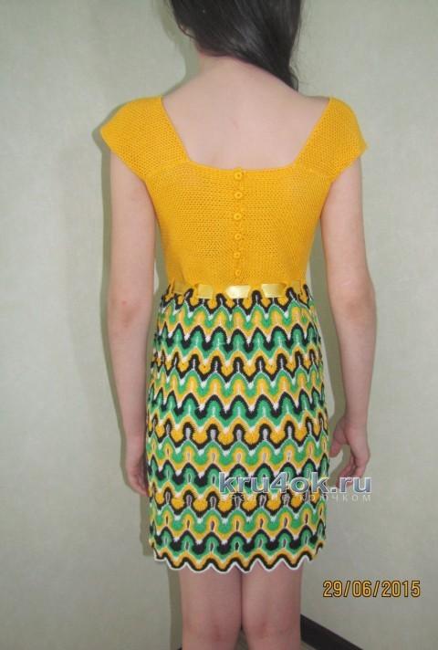 Платье для девочки Солнечное лето - работа Арины вязание и схемы вязания