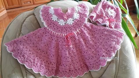 Платье и панама для девочки - работа Ольги вязание и схемы вязания
