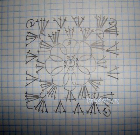 Плед крючком - работа Евгении Руденко вязание и схемы вязания