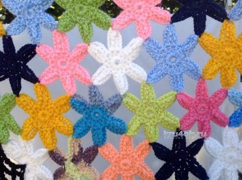 Шаль из цветочков - работа Татьяны Ивановой вязание и схемы вязания