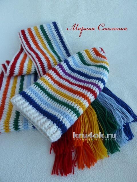 Шапочка и шарф для девочки - работы Марины Стоякиной вязание и схемы вязания