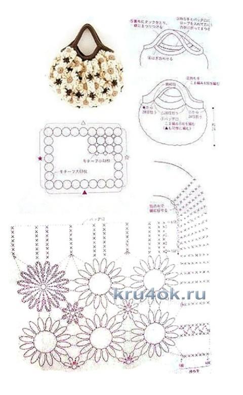 Сумочка Ромашка крючком - работа Евгении Руденко вязание и схемы вязания