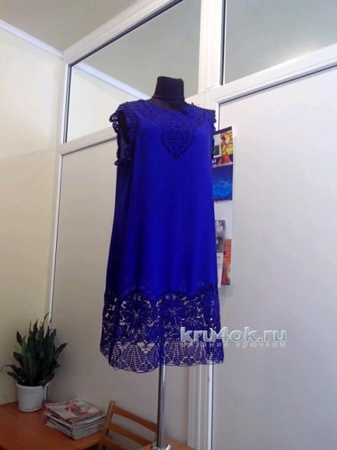 Туника комбинированная: ткань + вязание вязание и схемы вязания