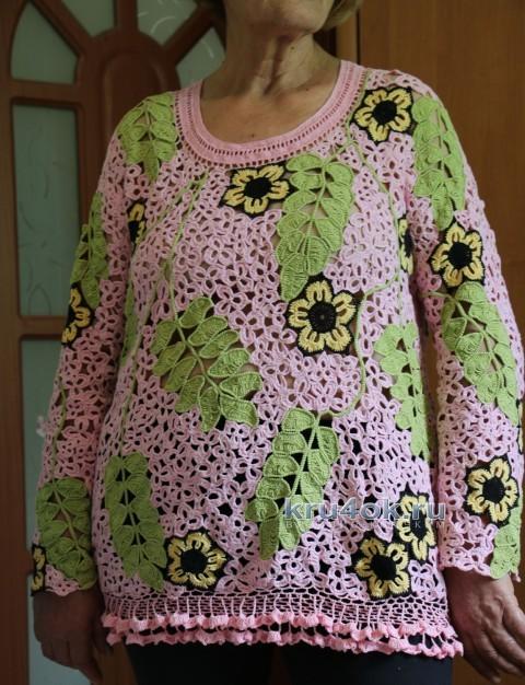 Туника крючком Розовая нежность. Работа Ефимии Андреевских вязание и схемы вязания