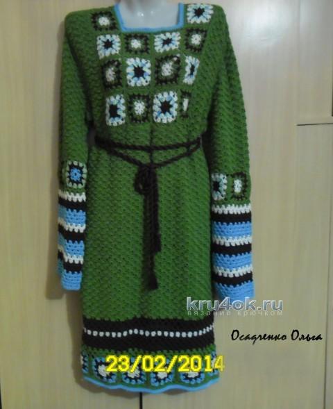 Вязаное крючком платье - работа Осадченко Ольги вязание и схемы вязания