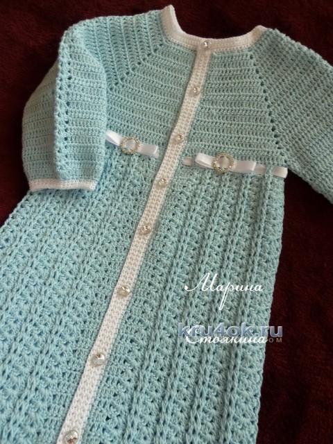 Вязаный конверт для малыша — работа Марины Стоякиной вязание и схемы вязания