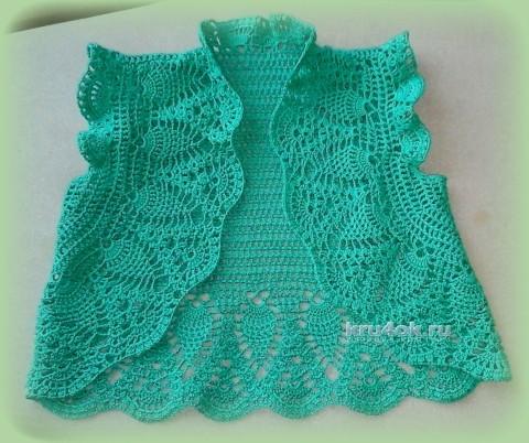 Ажурное болеро для девочки - работа Марины вязание и схемы вязания